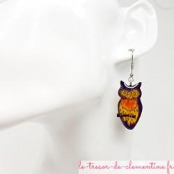 Boucles d'oreilles originales forme chouette violet à orangé modèle unique signé aspect émail