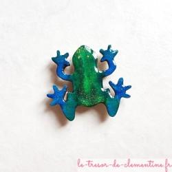 Magnet de collection grenouille turquoise à vert pailleté cadeau utile pour petit et grand
