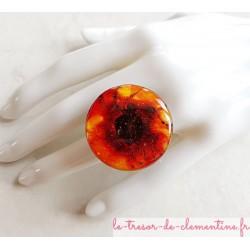 """Grande bague femme décor de feu collection """"notre terre"""" bijou artisanat d'art"""