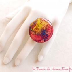 """Grande bague fantaisie femme rose collection """"notre terre"""" bijou artisanat d'art"""