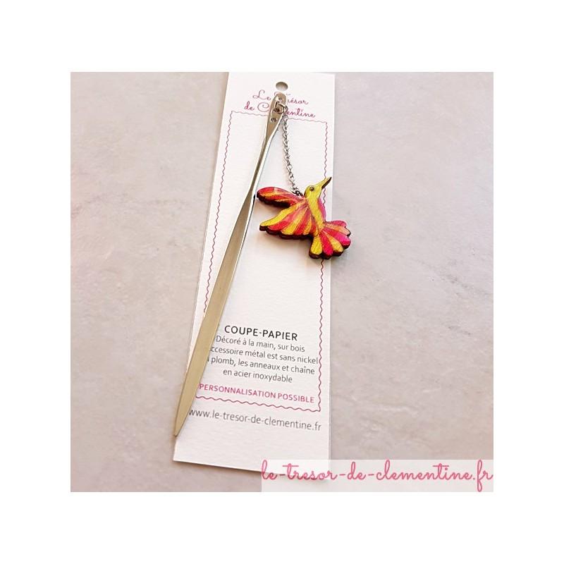 Ouvre-lettre Marque-page Coupe-papier décor colibri rose et anis, décor métal couleur argent