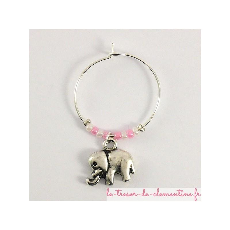Marque verre à vin ou à cocktail - petit éléphant perles roses