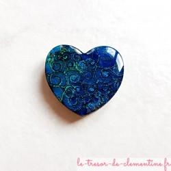 Offrez un magnet de collection en forme de coeur baroque tons nuancés de turquoise en bois, couleurs profondes aspect émail