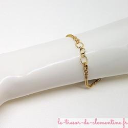 Bracelet femme baroque tons vert et or réglable, adaptable de 17,5 à 20 cm,
