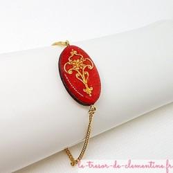 Bracelet femme baroque ou médiéval rose et or Création Le Trésor de Clémentine Artisanat d'Art