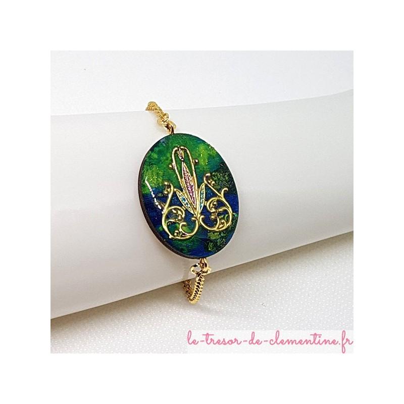 Bracelet artisanal pour femme décor baroque vert à turquoise et or  La longueur peut être adaptée sur demande