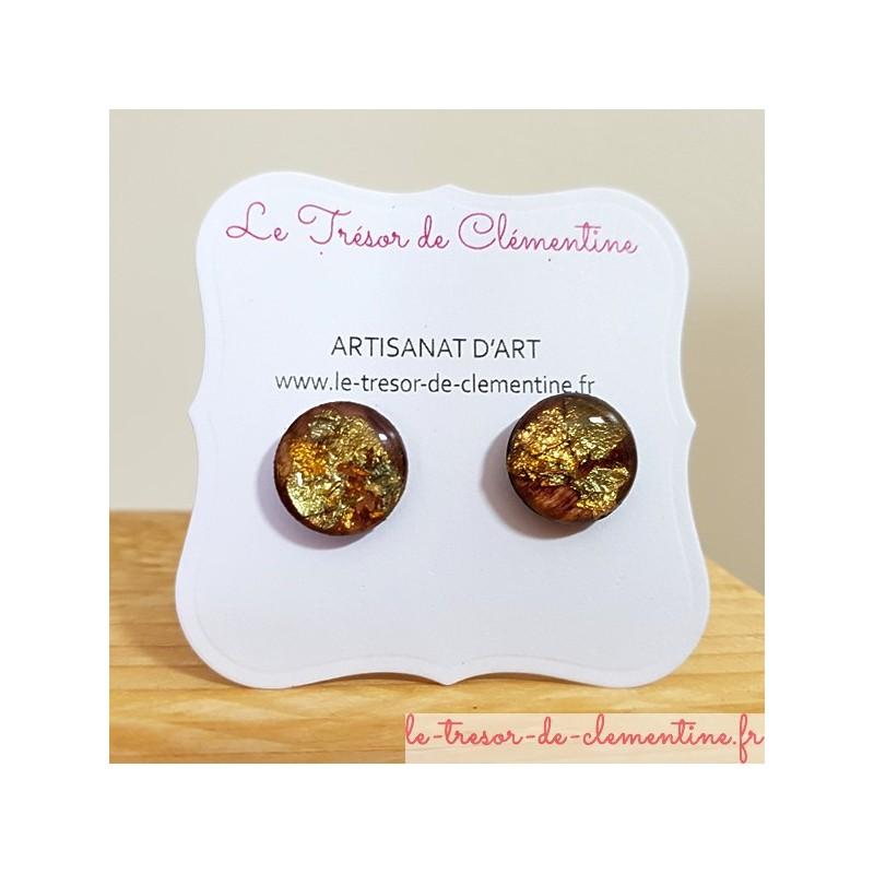 Bouton ou puce d'oreille fantaisie, petite boucle d'oreille fantaisie forme bouton marron pailleté métal