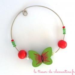 Rond de serviette décor papillon vert et rouge