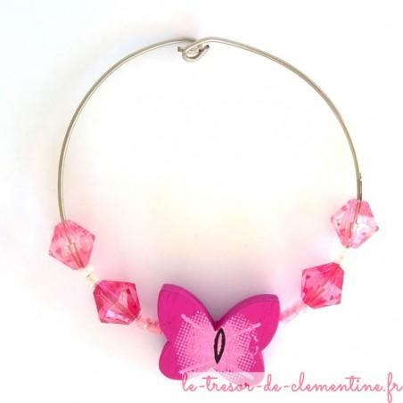 Rond de serviette décor papillon rose et blanc