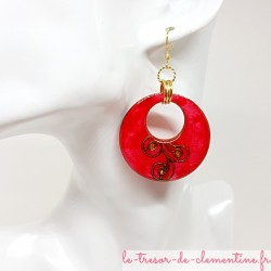 Paire de boucles d'oreilles Créoles pendante rose, bronze et doré légères création artisanale française