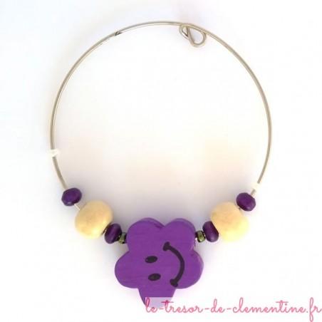 Rond de serviette décor fleur smiley violet et blanc