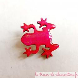 Broche fantaisie grenouille rose vif pour un cadeau plaisir