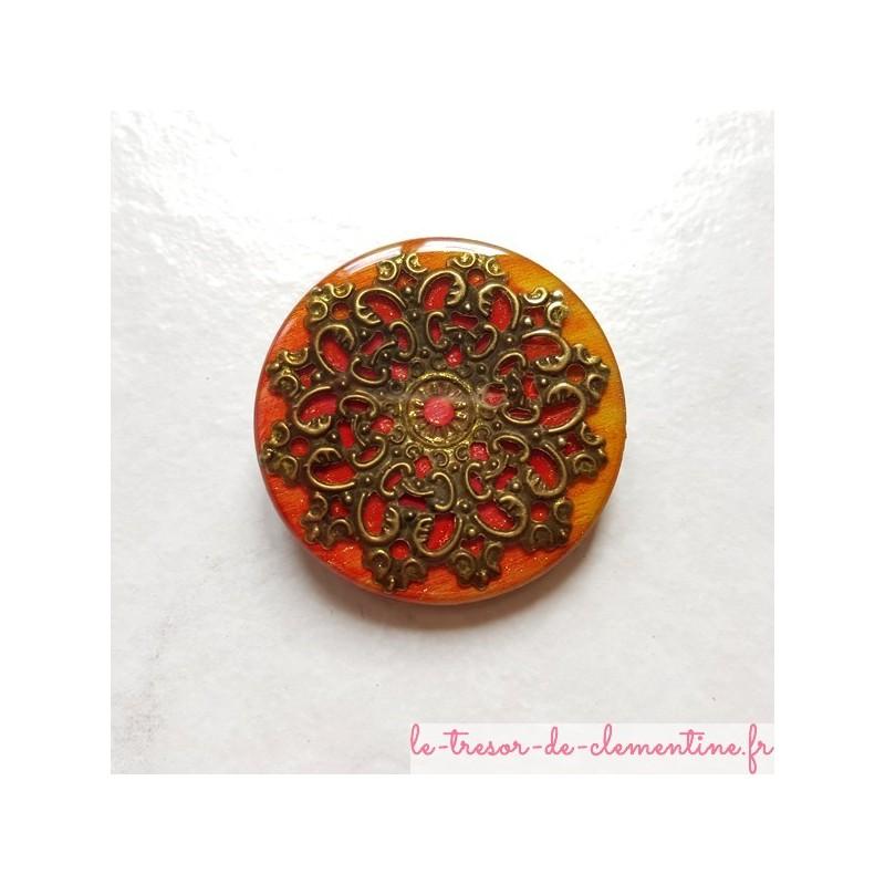 Broche pour femme baroque médiéval feu et bronze, artisanat d'art