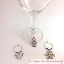 3 Marque verre à vin ou à cocktail - sapin, botte et poule avec perles