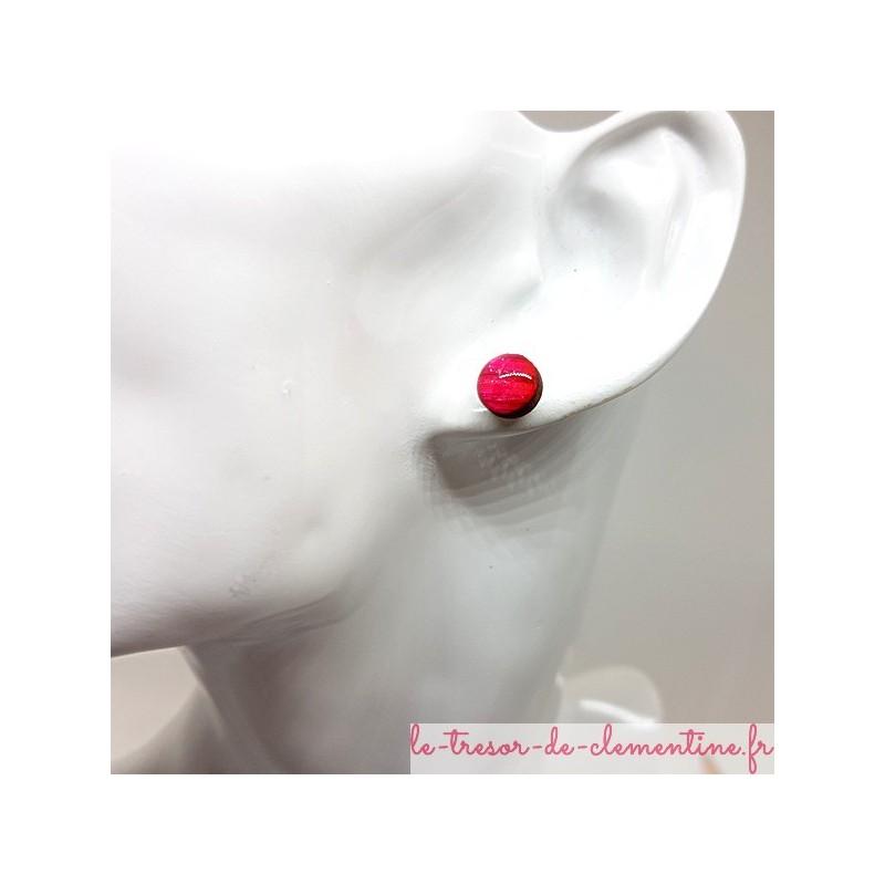 Petit bouton d'oreille, puce d'oreille rose strié et pailleté