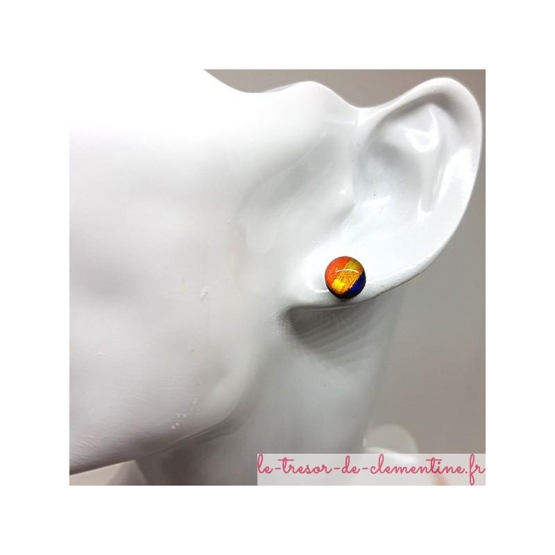 Bouton d'oreille, puce d'oreille ronde multicolore pailletée