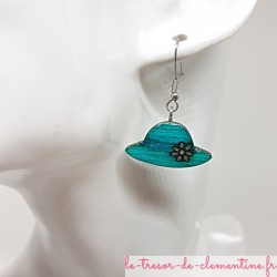 Boucle d'oreille artisanale petit chapeau turquoise et argent
