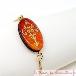 Bracelet femme médiéval ou baroque ton feu chaîne dorée fait main