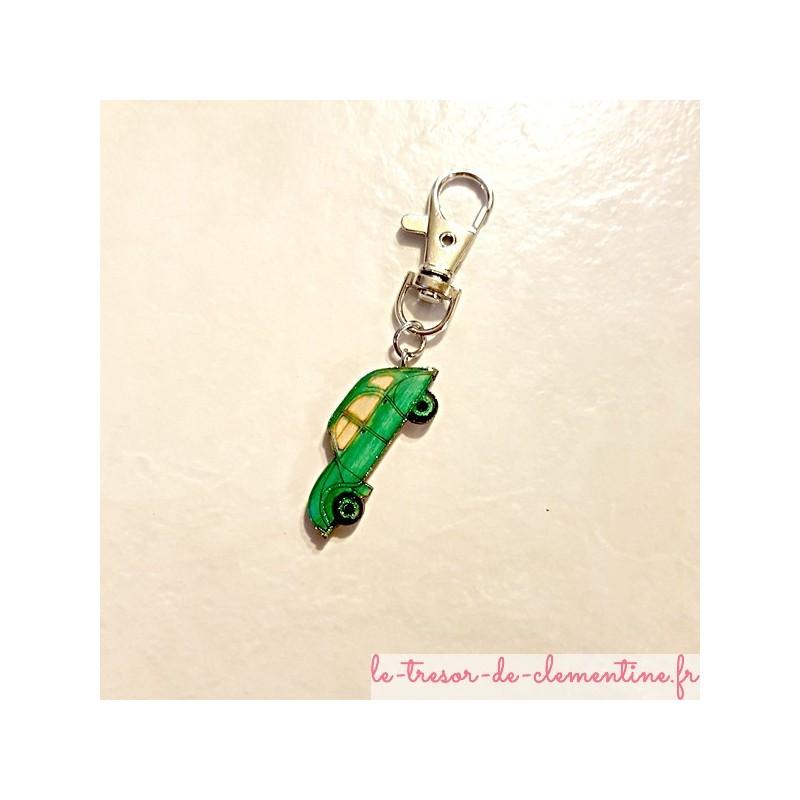 Porte-clef voiture de collection 2 cv verte avec mousqueton voiture collection cadeau utile prix doux
