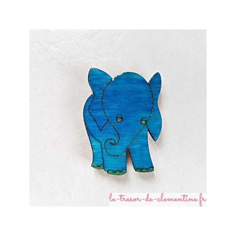 Magnet de collection éléphant turquoise cadeau utile qui fera toujours plaisir, en bois, couleurs profondes aspect émail