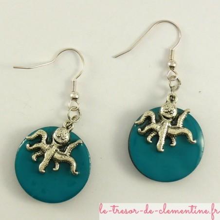 Boucles d'oreilles forme ronde décor poulpe turquoise et argent