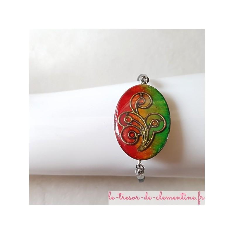 Bracelet fantaisie baroque tons vert et orange à rouge bracelet cuir