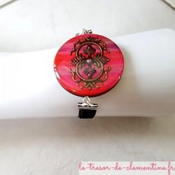 Bracelet artisanal femme rose et bronze, baroque et bracelet velours