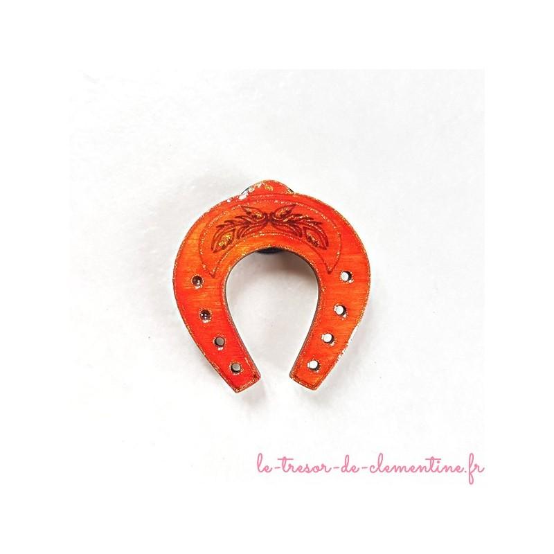 Magnet de collection petit fer à cheval orangé doré porte bonheur cadeau utile et original