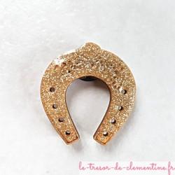 Magnet de collection petit fer à cheval doré pailleté porte bonheur cadeau utile et original