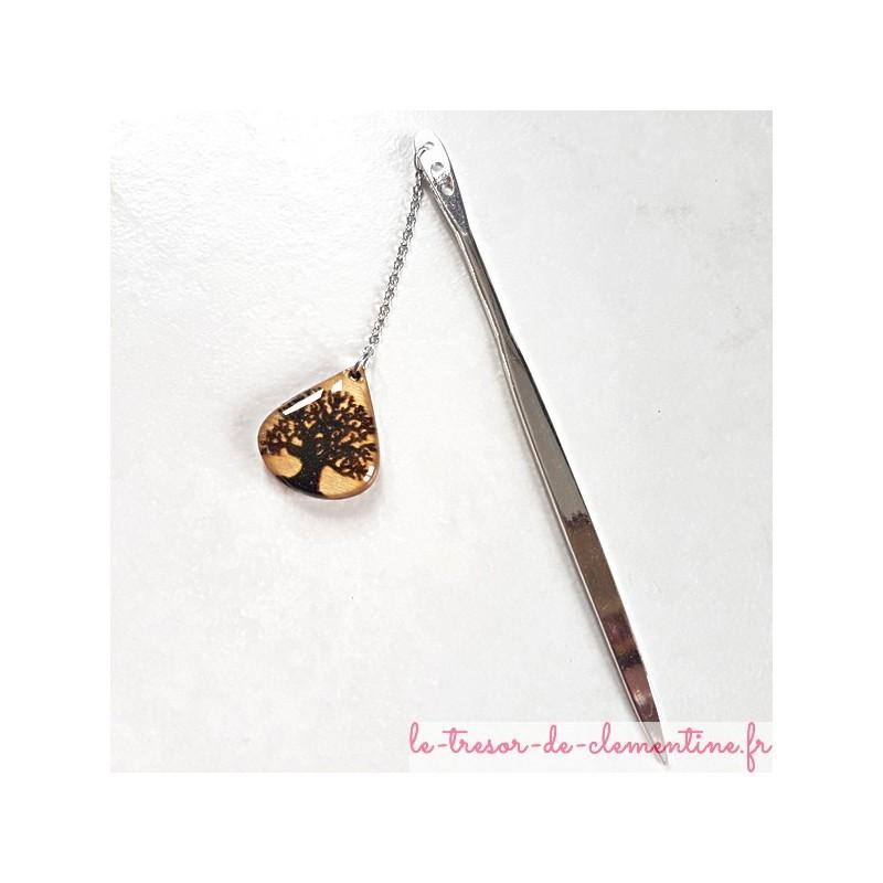 Ouvre-lettre Marque-page Coupe-papier arbre de vie, décor métal couleur argent