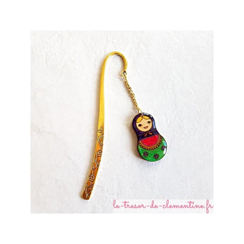 Marque page poupée russe violet vert et rose décor doré à fleurs, artisanat d'art