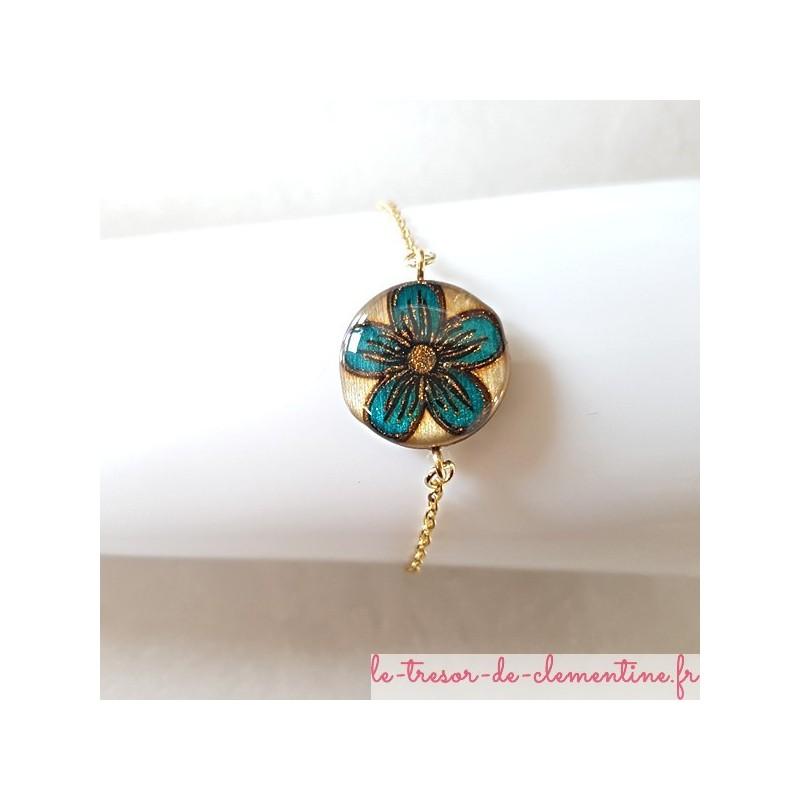 Bracelet femme fleur turquoise pailleté bronze chaîne dorée