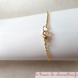 Bracelet femme fleur turquoise pailleté bronze chaîne dorée taille personnalisable