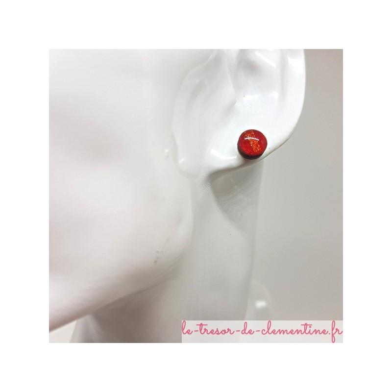 Puce ou bouton d'oreille rouge rayé scintillant prix doux