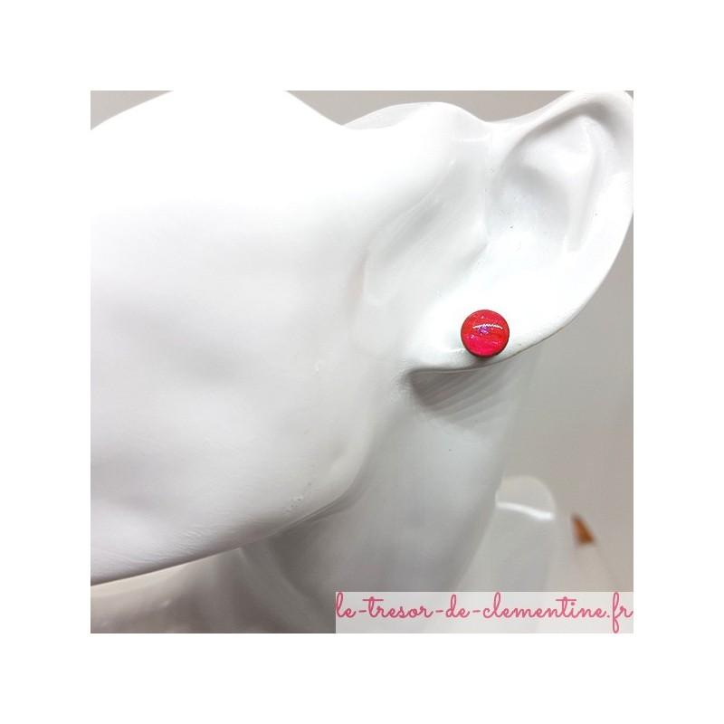 Puce ou bouton d'oreille rose et mauve pailleté fait main