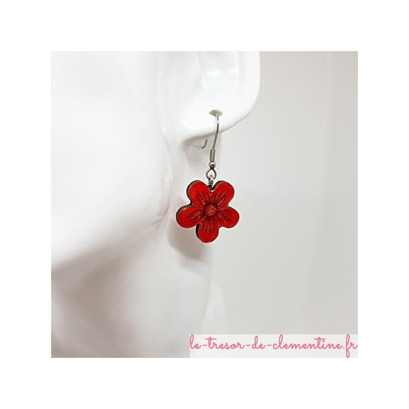 Boucle d'oreille femme avec fleur rouge, rose et pailleté fait main