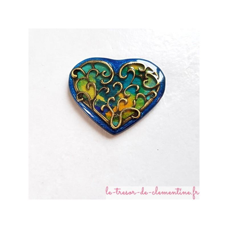 Broche vintage coeur camaïeux de bleu à vert et bronze, artisanat d'art décor fait main
