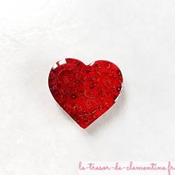 Magnet de collection coeur rouge et doré cadeau original Saint Valentin bel aspect émail