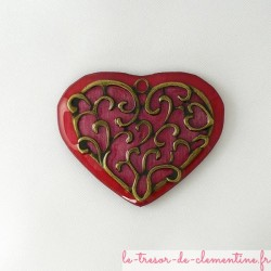 Broche vintage coeur rose...