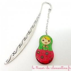 Marque-page poupée russe rose et vert cadeau utile bel aspect émail