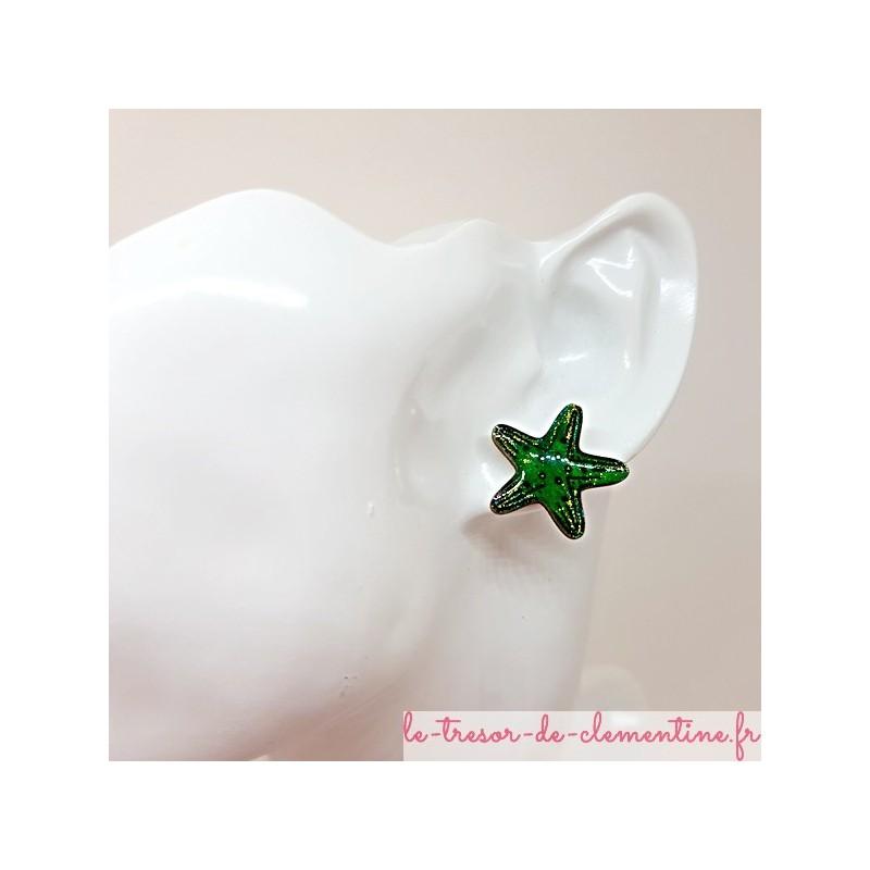 Bouton puce d'oreille étoile de mer vert et doré fait main