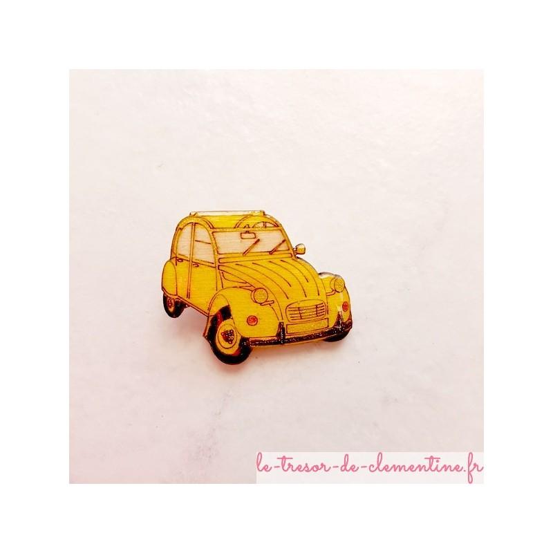 Broche 2 cv jaune (voiture mythique) aspect émail pour collectionnneur 2 CV