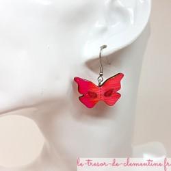 Boucle d'oreille fantaisie femme masque papillon rose et pailleté décor fait main