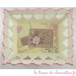 Corbeille romantique rose et blanc