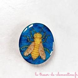 Magnet de collection abeille turquoise or pailleté et argent cadeau original