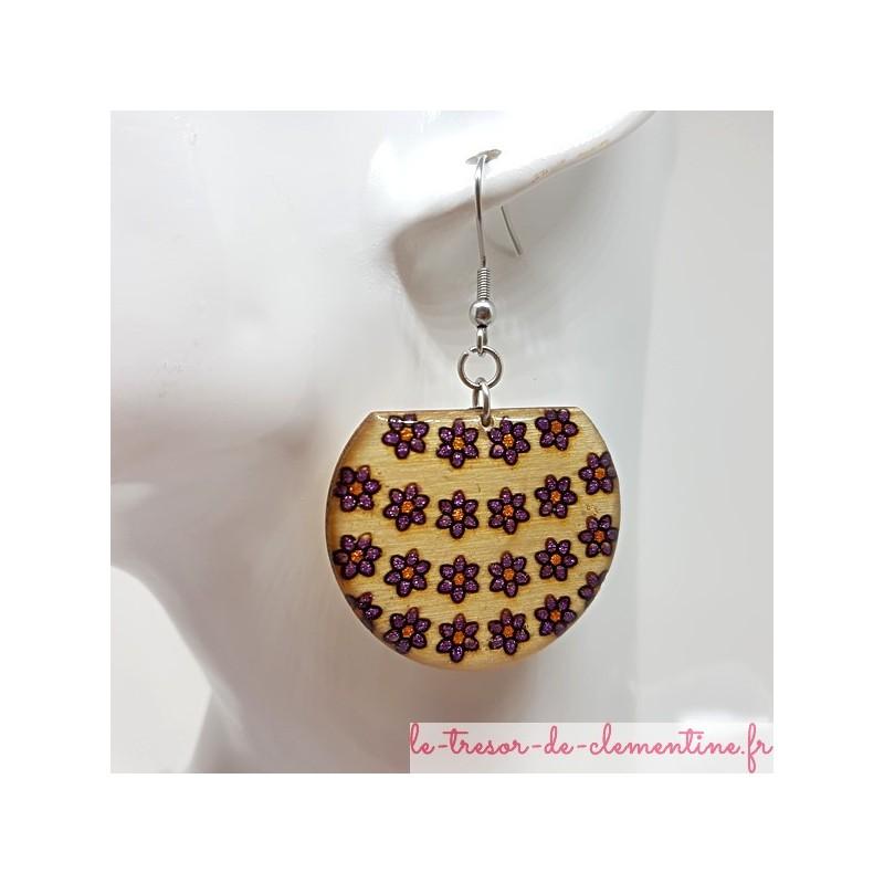 Boucles d'oreilles artisanales panier de fleurs violet et bronze pailleté fait main