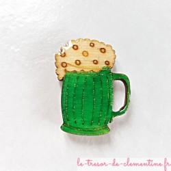 Magnet collection forme chope de bière avec mousse vert et doré fait main cadeau utile
