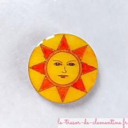 Magnet collection soleil rond tons chauds et doré cadeau utile fait main