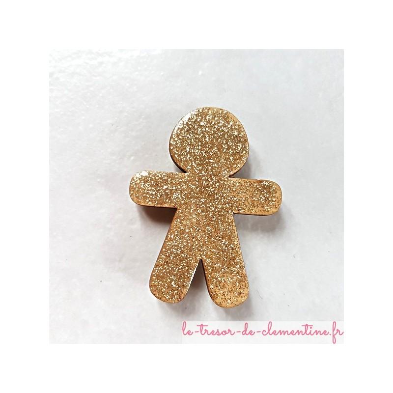 Magnet collection bonhomme pain d'épices pailleté doré cadeau utile fait main pour petits et grands