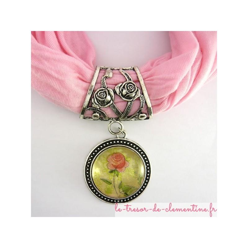 Bélière foulard avec rose